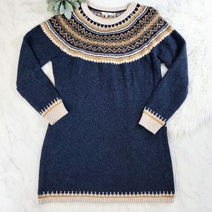 FatFace Blue Patterned Yoke Knit Sweater Dress